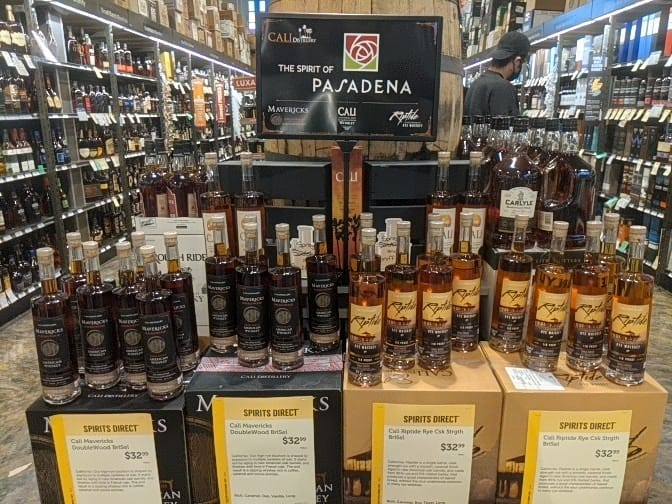 Cali Distillery whiskeys - Pasadena store display